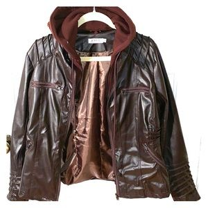 Jackets & Blazers - Maroon Faux Leather Jacket